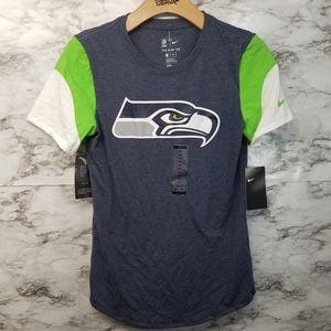 Nike Seattle Seahawks Navy Blue Tshirt Womens XS